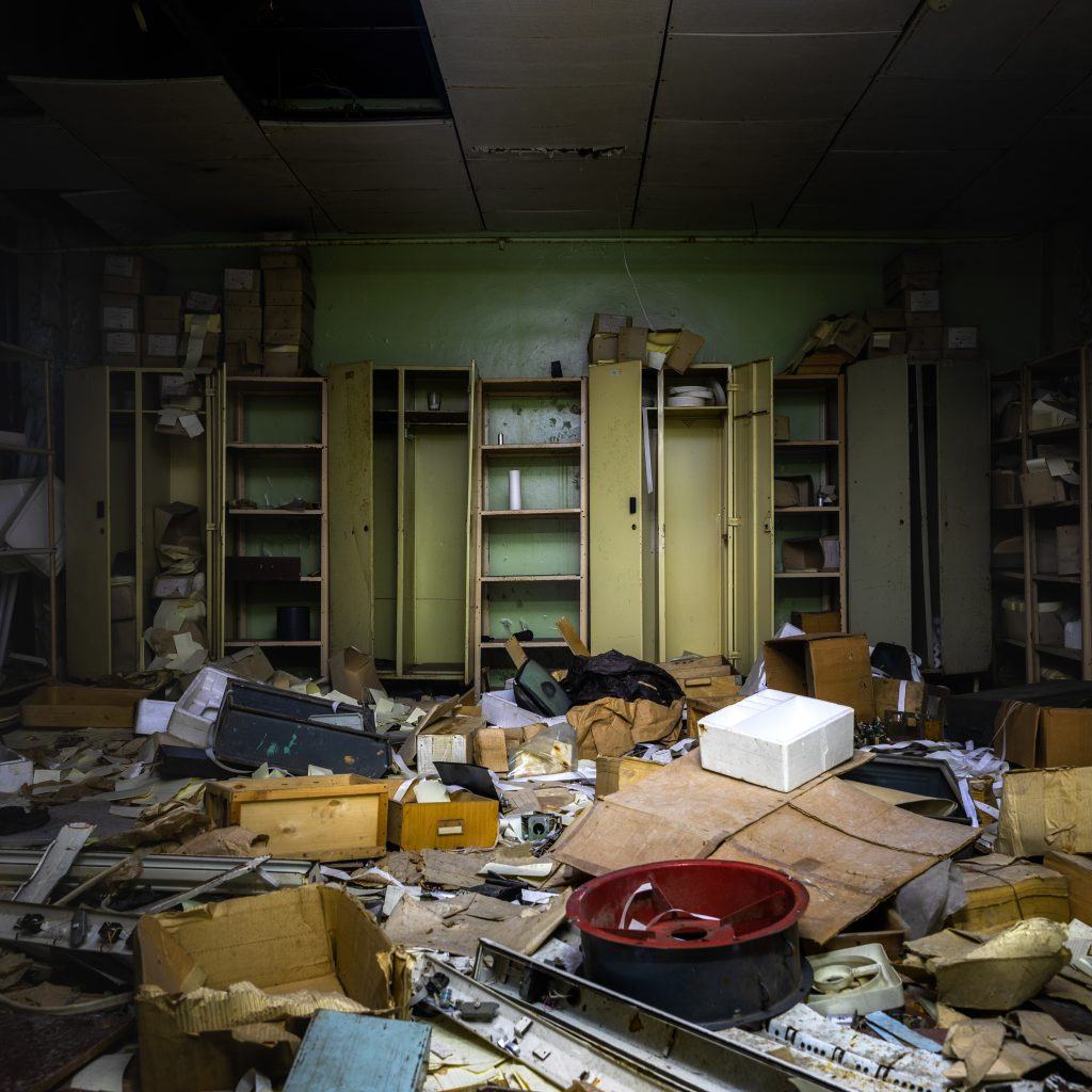 Messy room in Chernobyl exclsion zone Angle shot